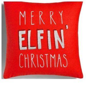 Merry Elfin Christmas Decorative Pillow NWT